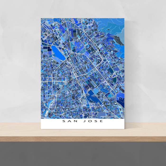 San Jose, California map art print in blue shapes designed by Maps As Art.