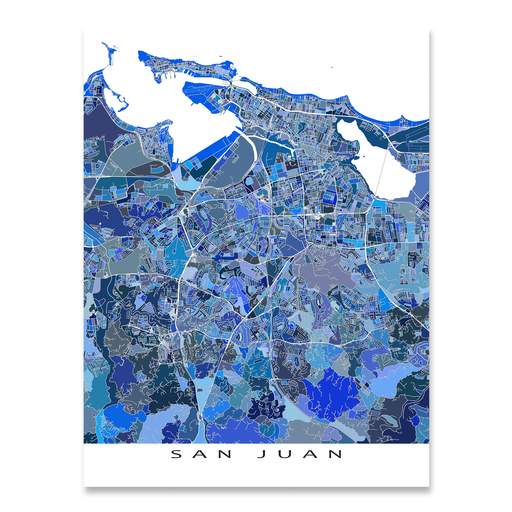 San Juan, Puerto Rico map art print in blue shapes designed by Maps As Art.