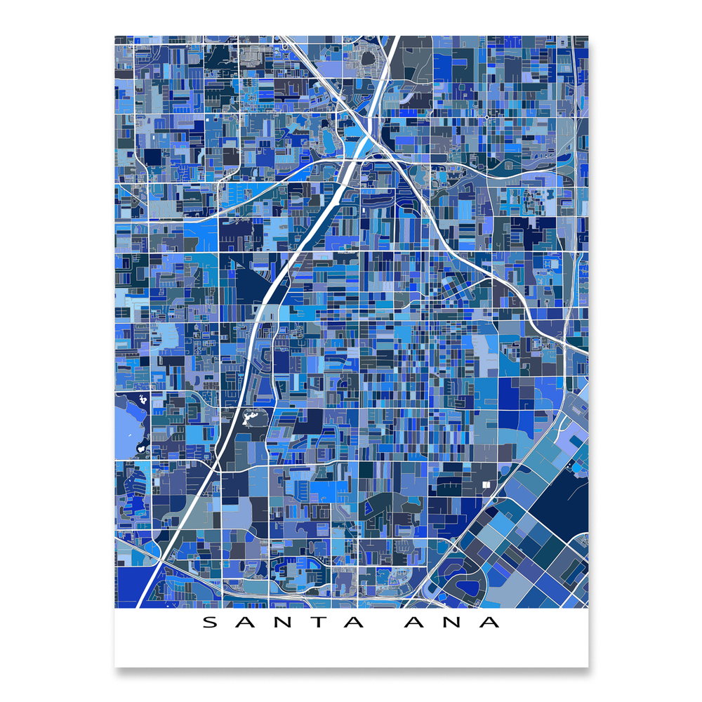 Santa Ana, California map art print in blue shapes designed by Maps As Art.