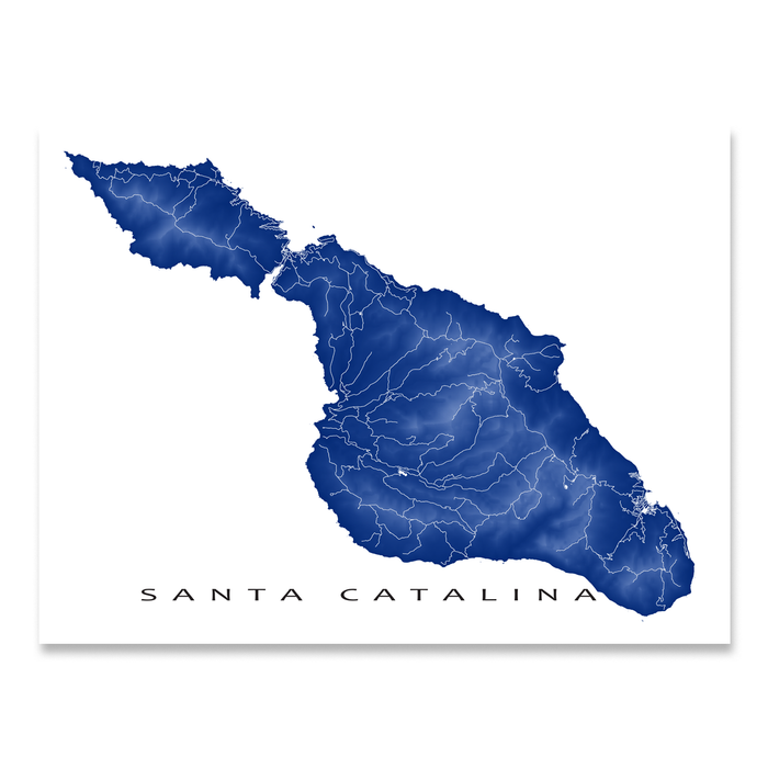Santa Catalina Map Print, California, Colors