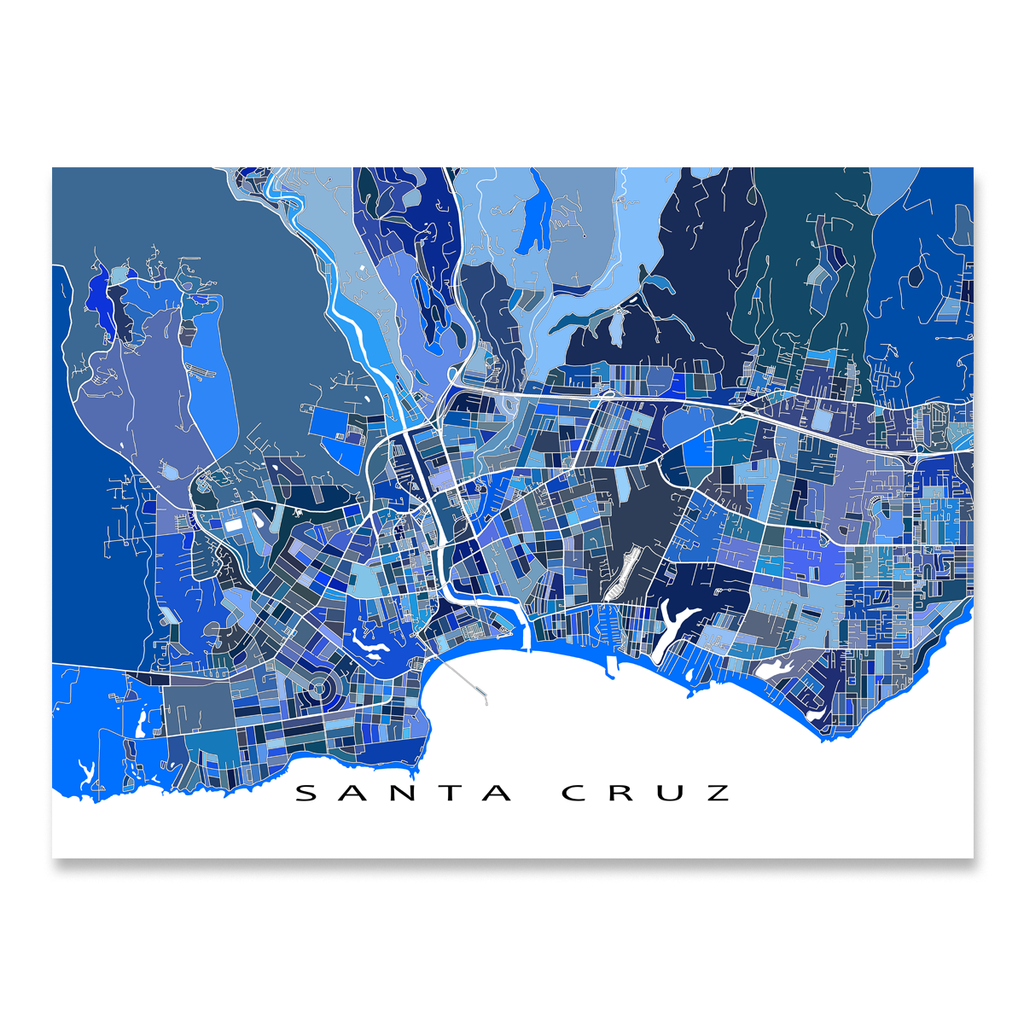 Santa Cruz Map Print California USA Maps As Art