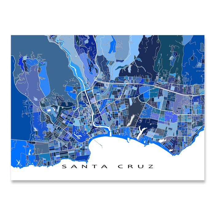 Santa Cruz California Map.Santa Cruz Map Print California Usa