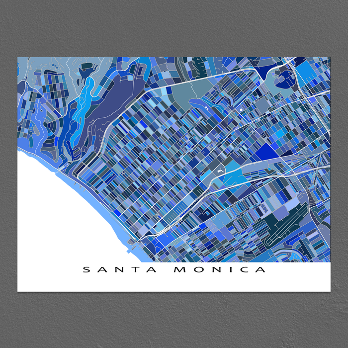 Santa Monica Map Print, California, USA