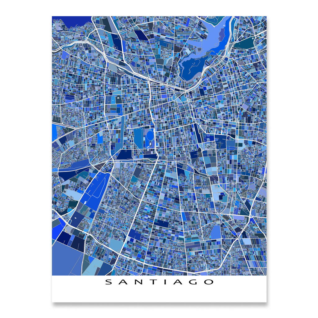 Santiago Map Print Chile Maps As Art