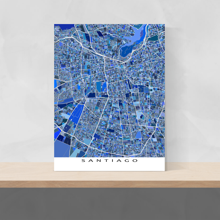 Santiago, Chile map art print in blue shapes designed by Maps As Art.