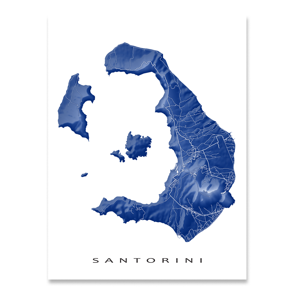 Santorini, Greece map print with natural island landscape and main roads in Navy designed by Maps As Art.
