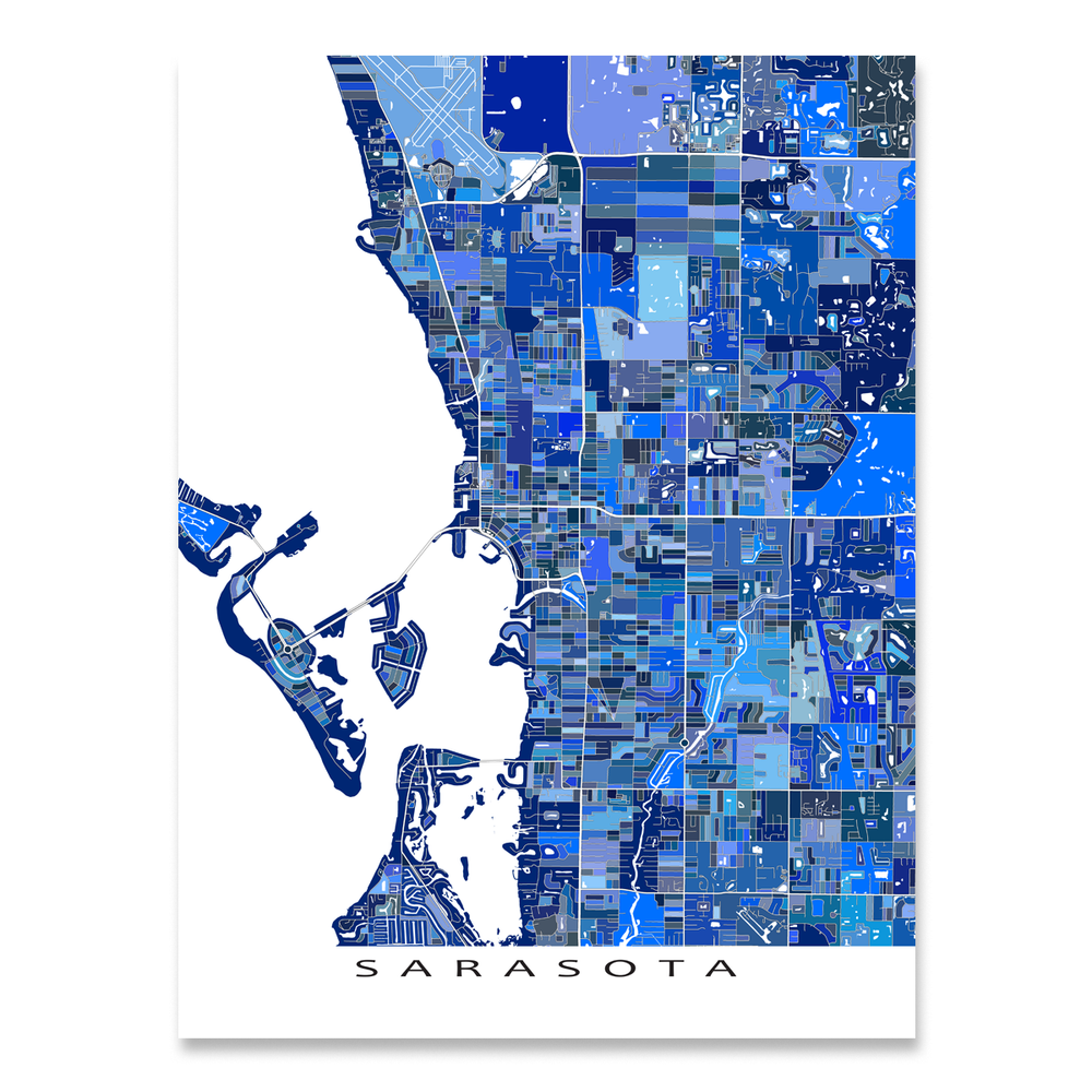 Sarasota, Florida map art print in blue shapes designed by Maps As Art.