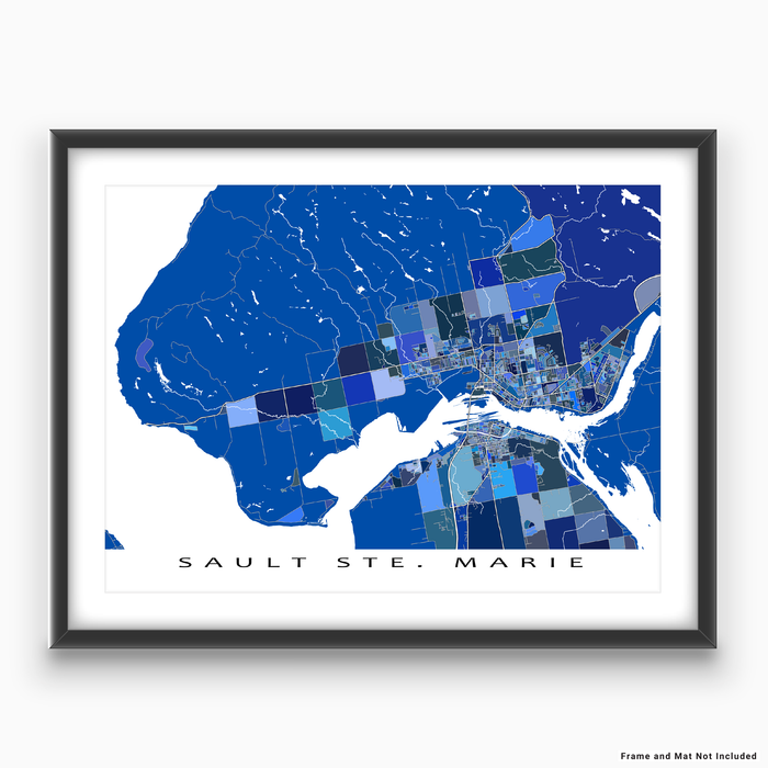 Sault Ste Marie, Ontario, Canada map art print in blue shapes designed by Maps As Art.