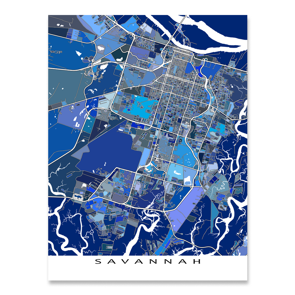 Savannah, Georgia map art print in blue shapes designed by Maps As Art.