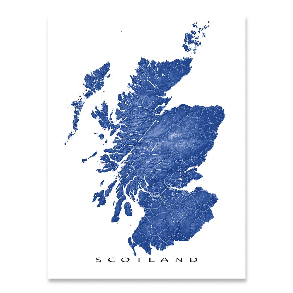 Scotland map print with natural landscape and main roads in Navy designed by Maps As Art.