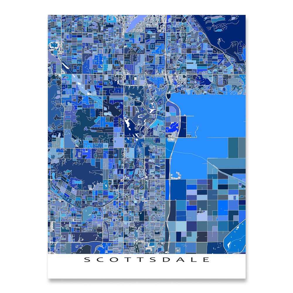 Scottsdale, Arizona map art print in blue shapes designed by Maps As Art.