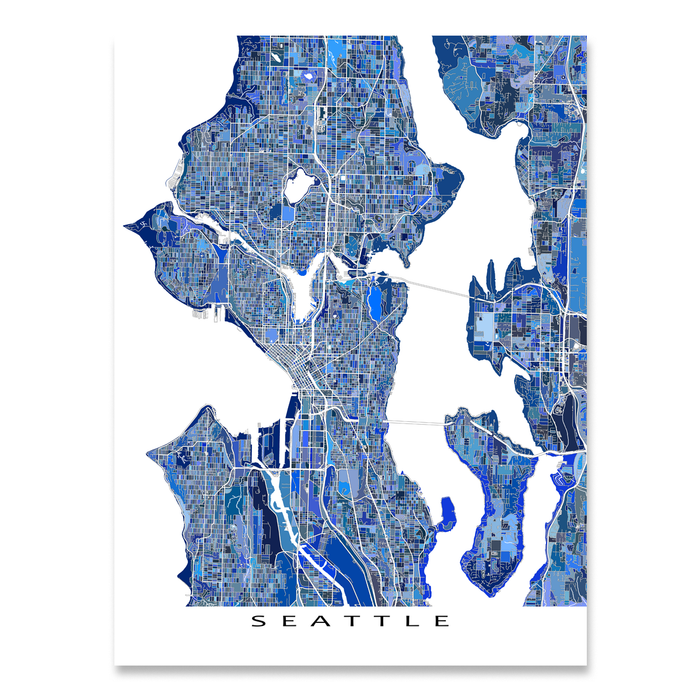Seattle Map Wa.Seattle Map Print Washington Usa Maps As Art