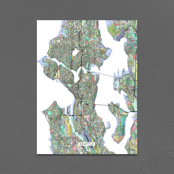 Seattle, Washington map art print in colorful shapes designed by Maps As Art.