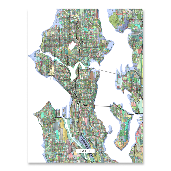 Seattle Map Print Washington Colorful Maps As Art