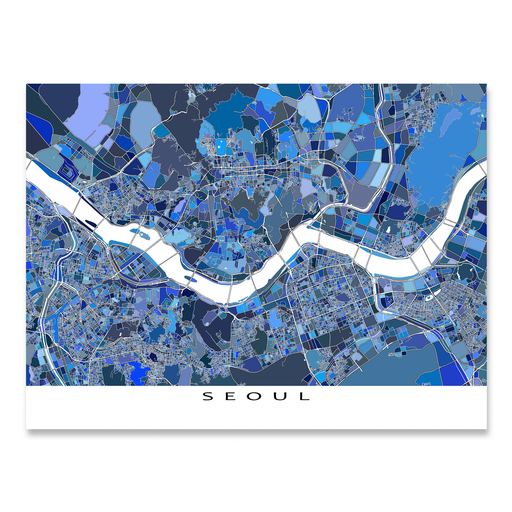 Seoul, South Korea map art print in blue shapes designed by Maps As Art.