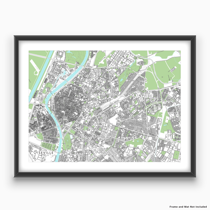 Seville, Spain map art print with city streets and buildings designed by Maps As Art.