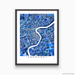 Shanghai, China map art print in blue shapes designed by Maps As Art.