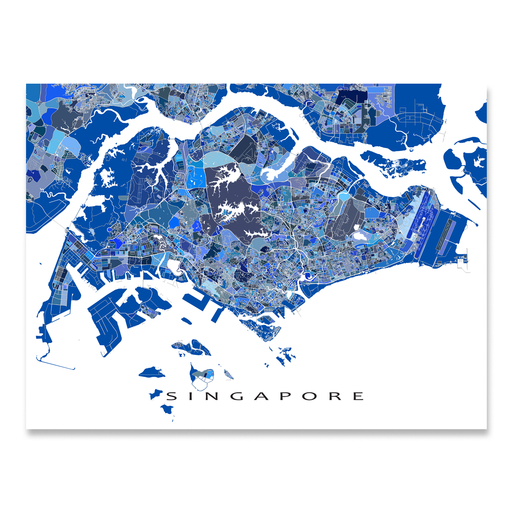 Singapore map art print in blue shapes designed by Maps As Art.
