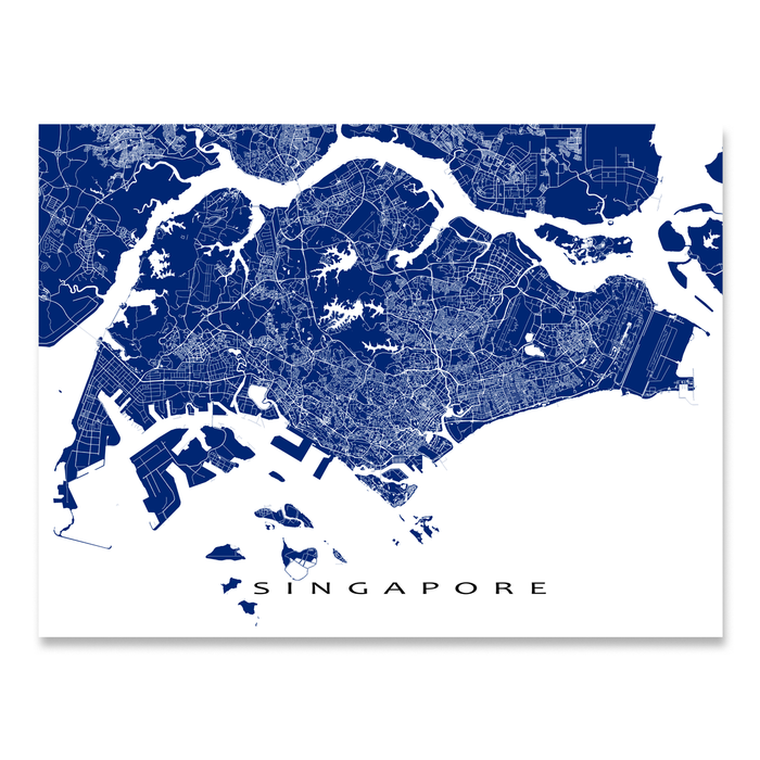 Singapore map print with streets and roads in Navy designed by Maps As Art.