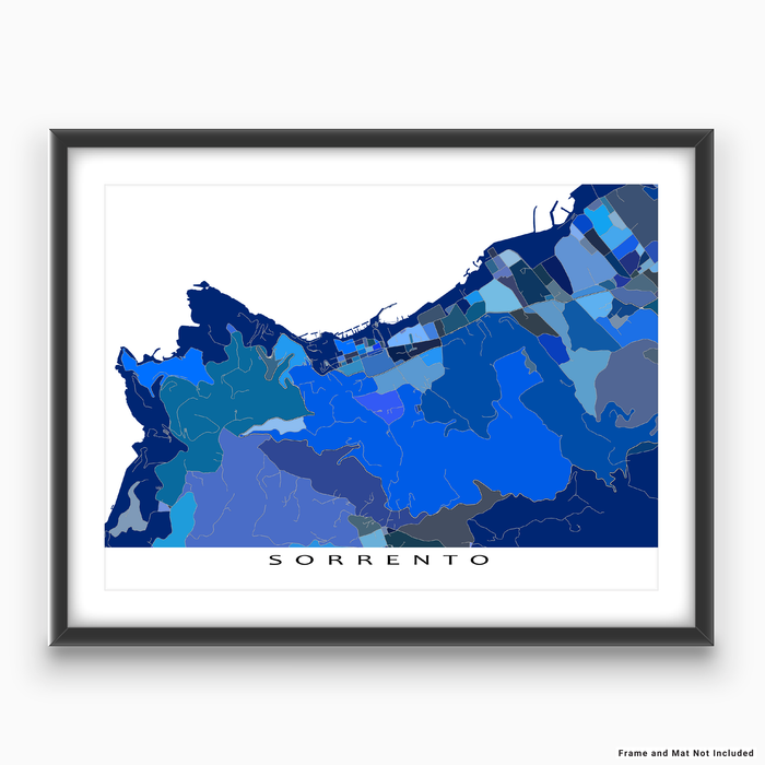 Sorrento, Italy map art print in blue shapes designed by Maps As Art.