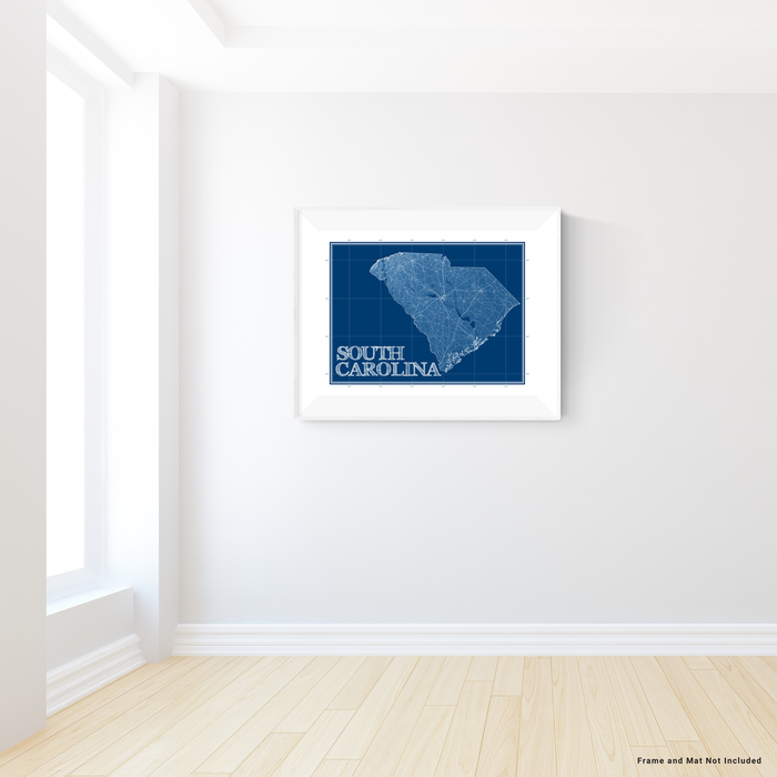 South Carolina state blueprint map art print designed by Maps As Art.