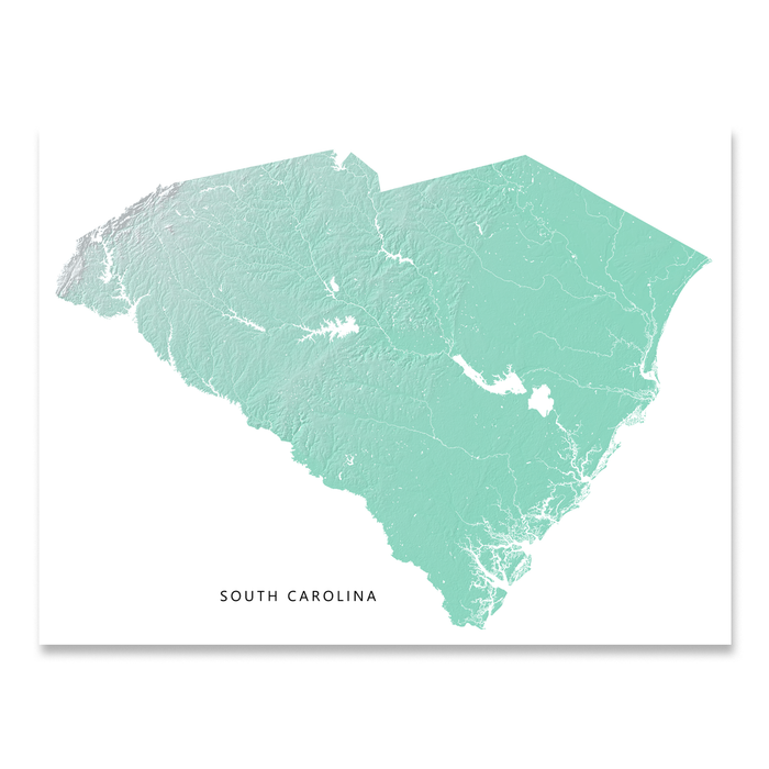 South Carolina Map Print, Aqua Landscape — Maps As Art
