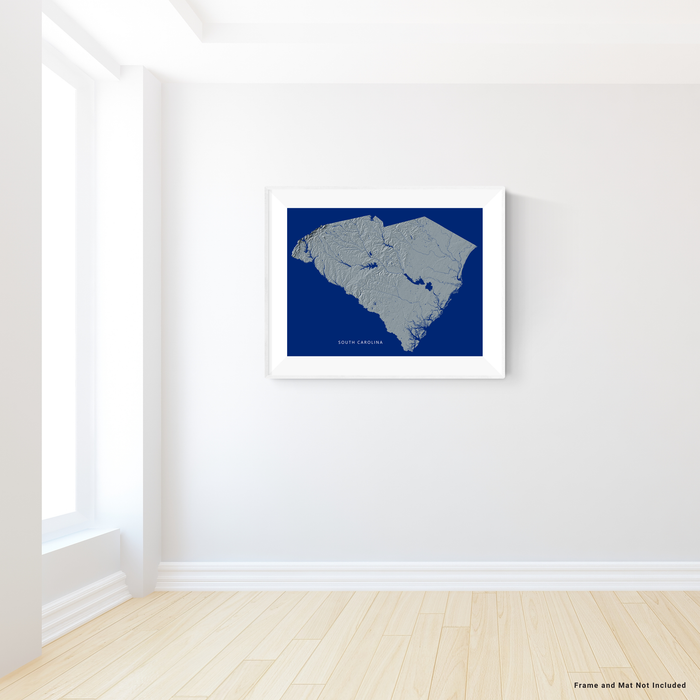 South Carolina state map print with natural landscape in greyscale and a navy blue background designed by Maps As Art.