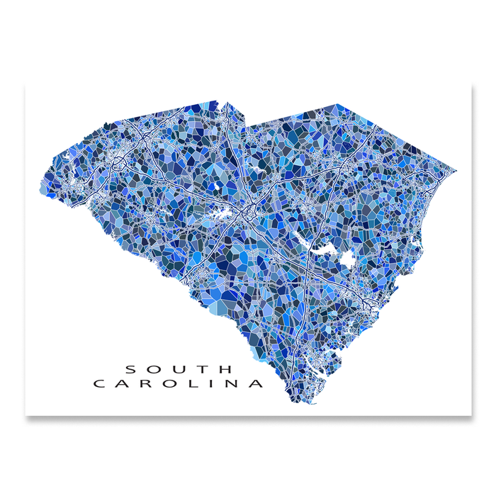 South Carolina state map art print in blue shapes designed by Maps As Art.