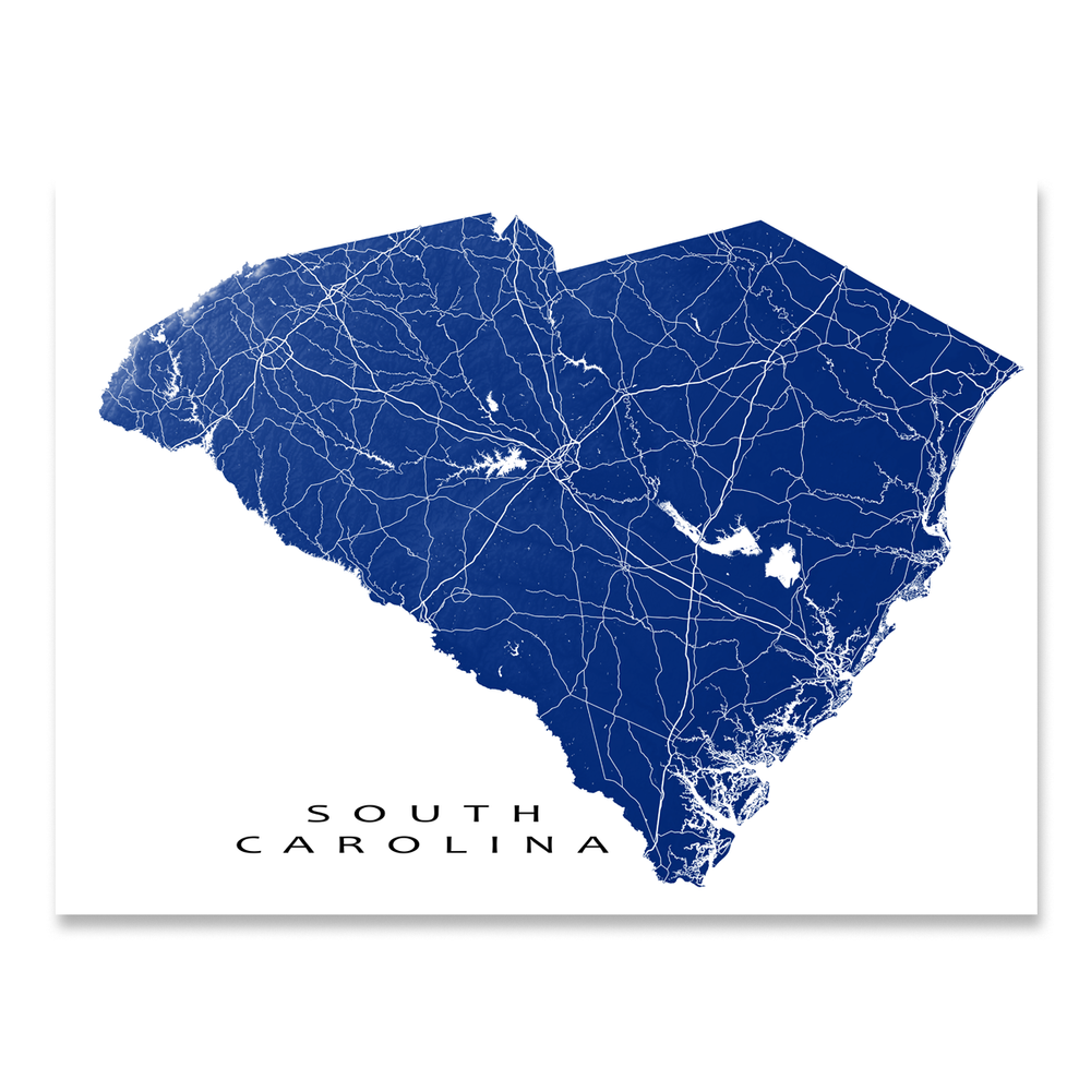 South Carolina state map print with natural landscape and main roads in Ch natural landscape and main roads in Navy designed by Maps As Art.
