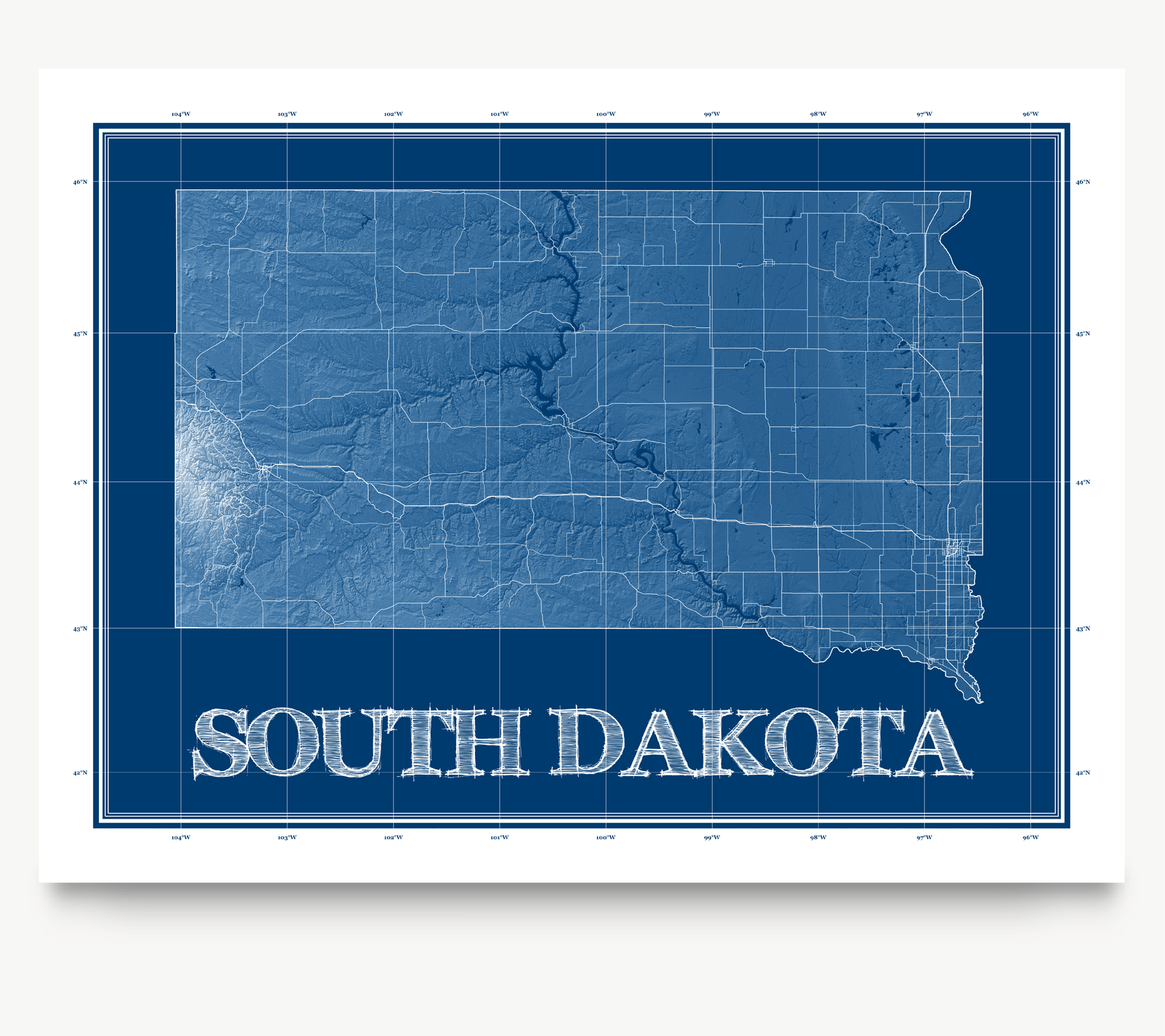 South Dakota state blueprint map art print designed by Maps As Art.