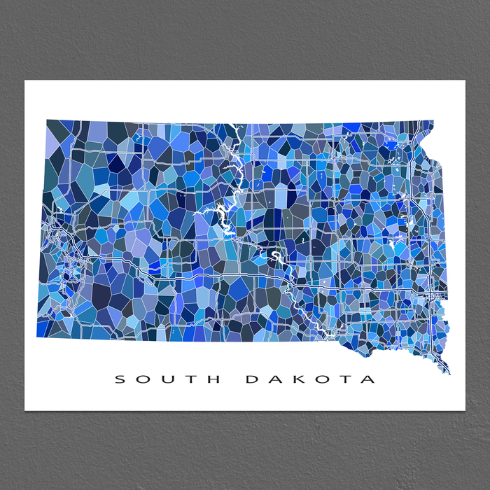 South Dakota Map Print, SD State