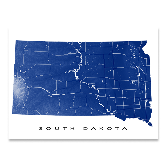 South Dakota Map Print, USA State, SD — Maps As Art on