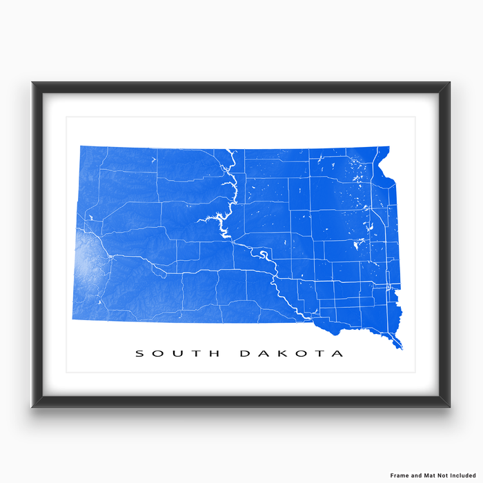 South Dakota state map print with natural landscape and main roads in Blue designed by Maps As Art.