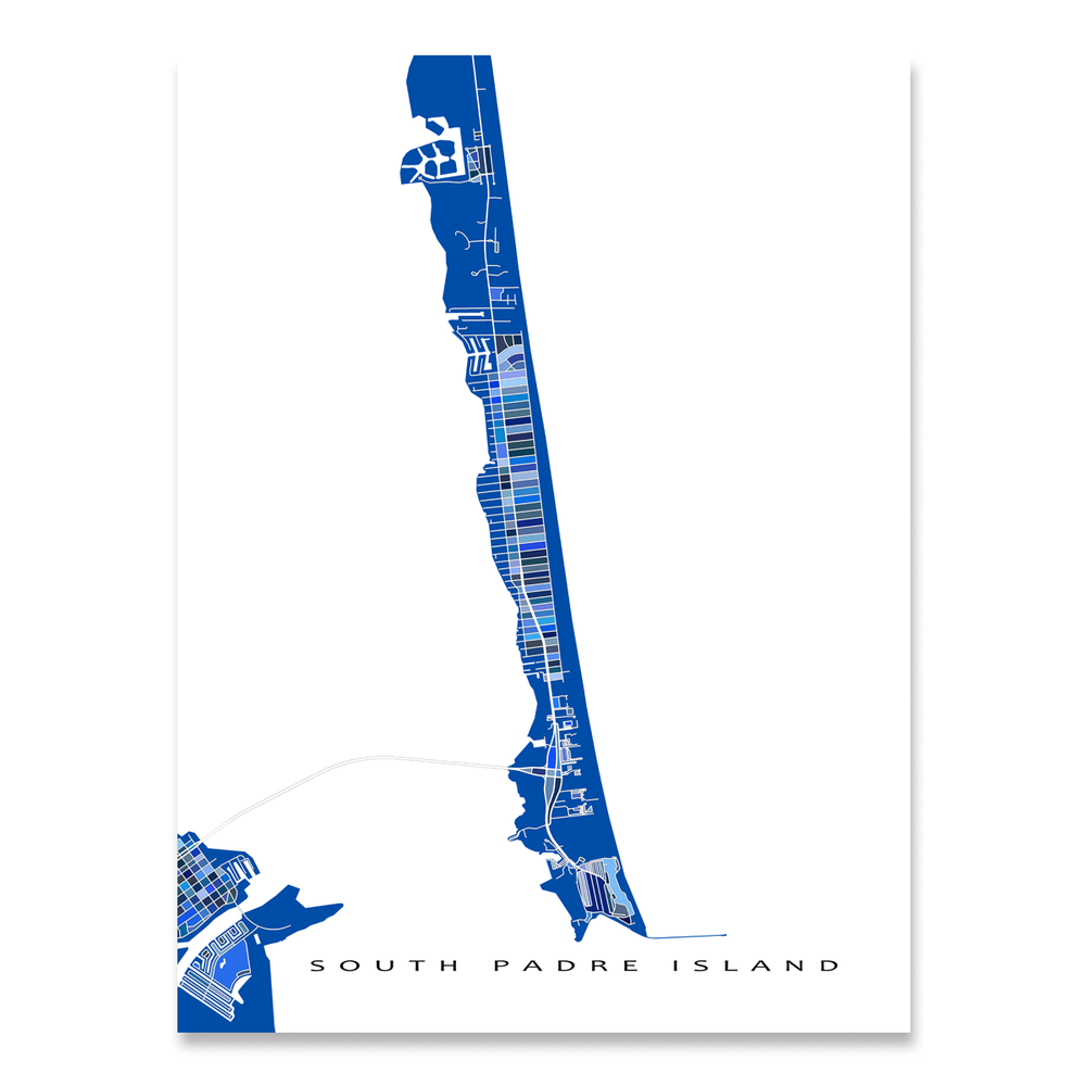 South Padre Island, Texas map art print in blue shapes designed by Maps As Art.