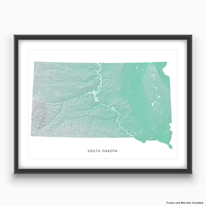 South Dakota state map print with natural landscape in aqua tints designed by Maps As Art.