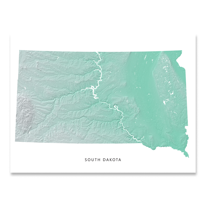 South Dakota Map Print, Aqua Landscape