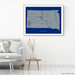 South Dakota state map print with natural landscape in greyscale and a navy blue background designed by Maps As Art.
