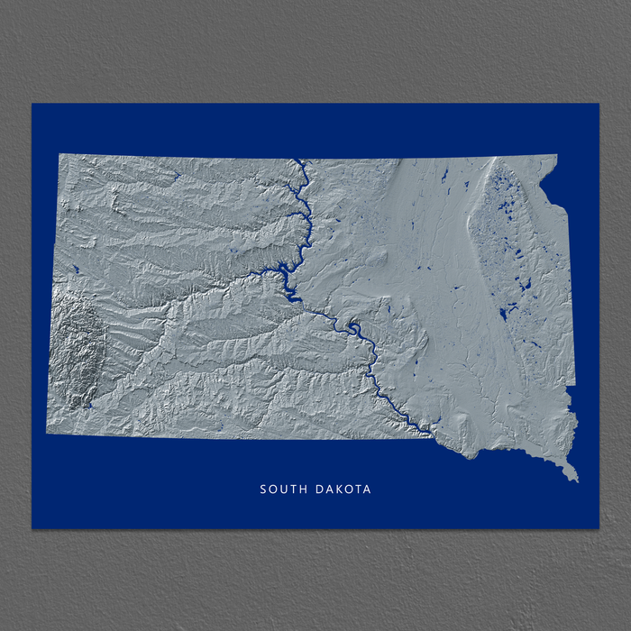 South Dakota Map Print, Navy Landscape