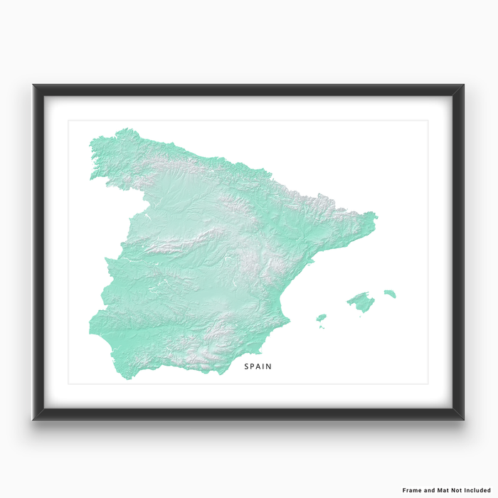 Spain map print with natural landscape in aqua tints designed by Maps As Art.