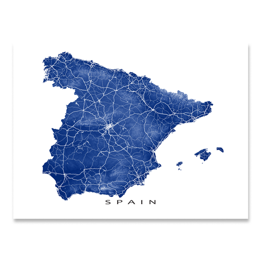 Spain map print with natural landscape and main roads in Navy designed by Maps As Art.