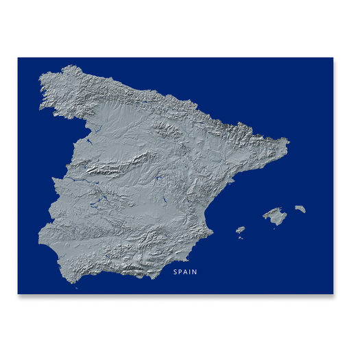 Spain Map Print, Navy Landscape