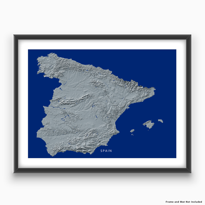 Spain map print with natural landscape in greyscale and a navy blue background designed by Maps As Art.