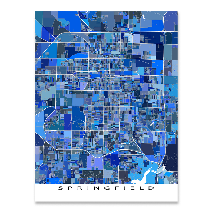 Springfield, Missouri map art print in blue shapes designed by Maps As Art.
