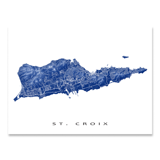 St. Croix, USVI map print with natural landscape and main streets in Navy designed by Maps As Art.