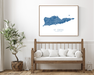 St. Croix USVI map print with wooden bench home decor by Maps As Art.
