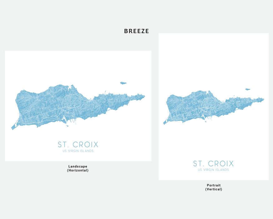 St. Croix USVI map print in Breeze by Maps As Art.