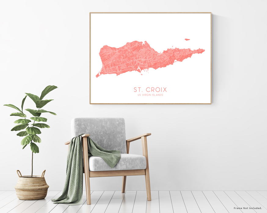 St. Croix USVI map print with plant and chair home decor  by Maps As Art.