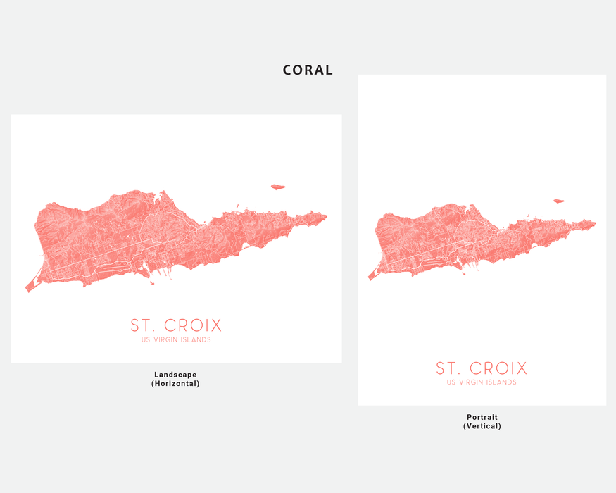 St. Croix USVI map print in Coral by Maps As Art.