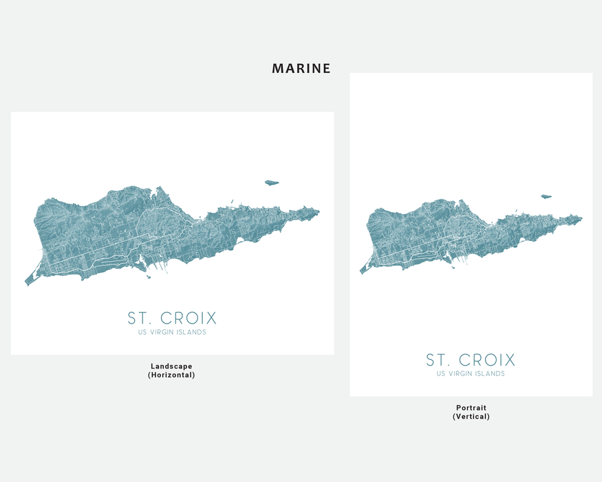 St. Croix USVI map print in Marine by Maps As Art.
