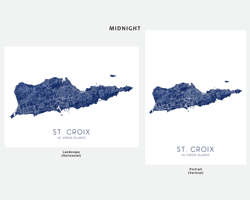 St. Croix USVI map print in Midnight by Maps As Art.